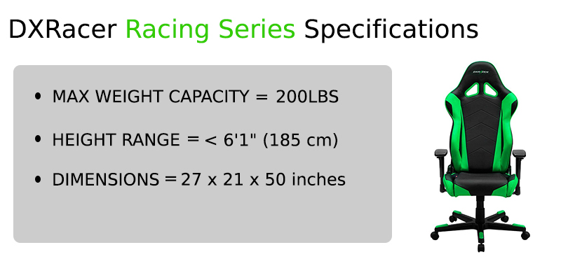 dx racer racing series specs
